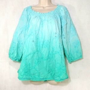 Kim Rogers Eyelet Ombre Top Off Shoulder Size 2X